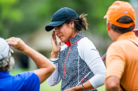 Women's Open winner Sandra Angulo Minarro becomes emotional after she wins the Florida Women's Open at the Quail Creek Country Club and Golf Course on Sunday, Aug. 12, 2018.