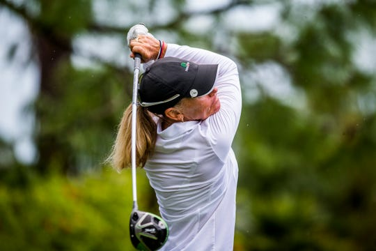 Senior Open winner Mary Jane Hiestand tees off during the Florida Women's Open and Senior Open at the Quail Creek Country Club and Golf Course on Sunday, Aug. 12, 2018.
