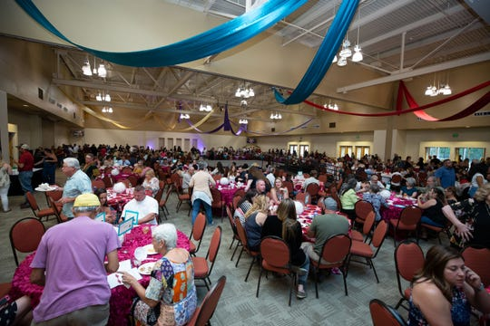 A huge crowd enjoys the many offerings at the Mesilla Valley Hospice Foundation Men Who Cook fundraiser on August 8, 2018.