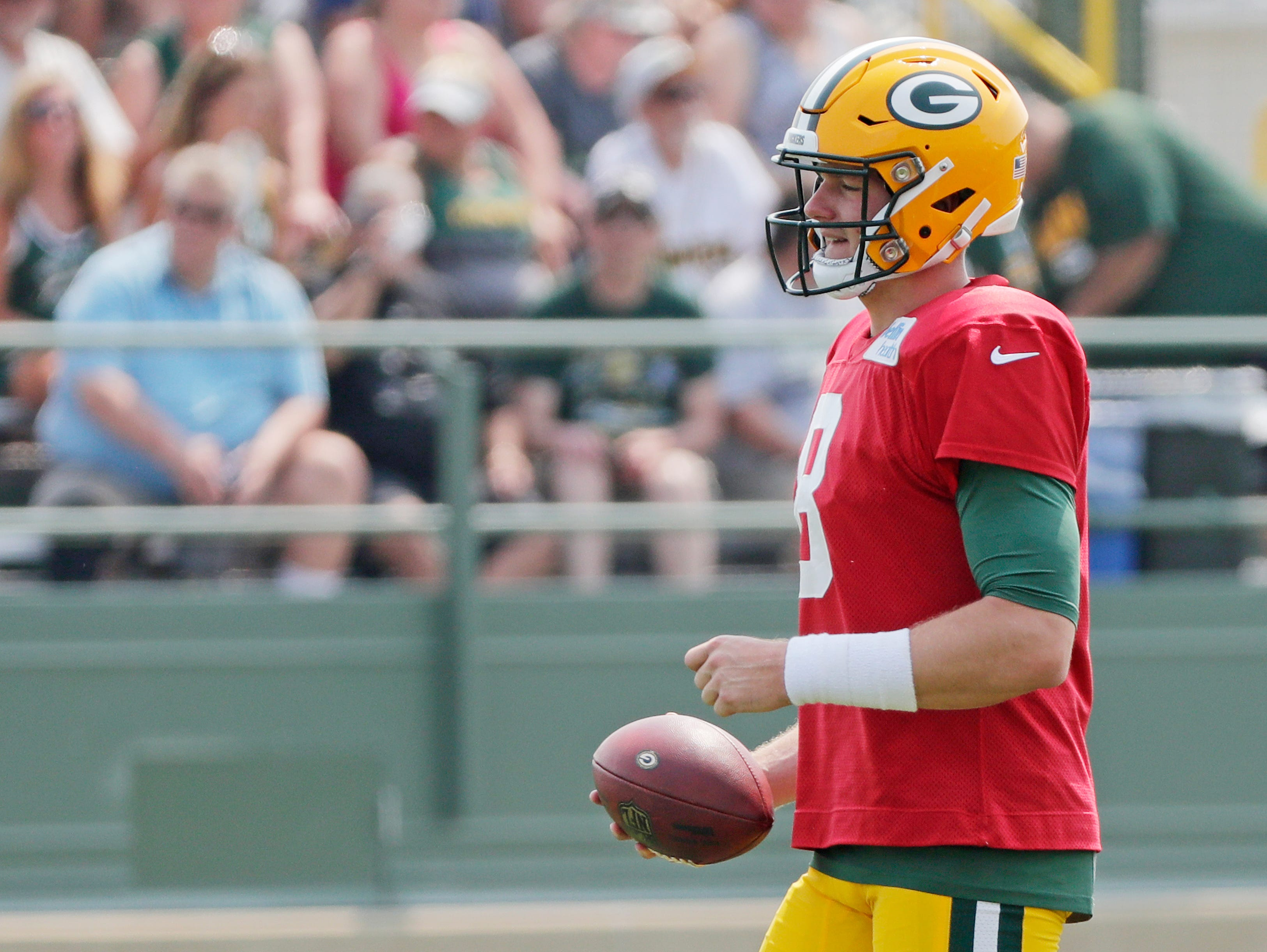 Green Bay Packers quarterback Tim Boyle (8) during training camp practice at Ray Nitschke Field on Sunday, August 12, 2018 in Ashwaubenon, Wis. 