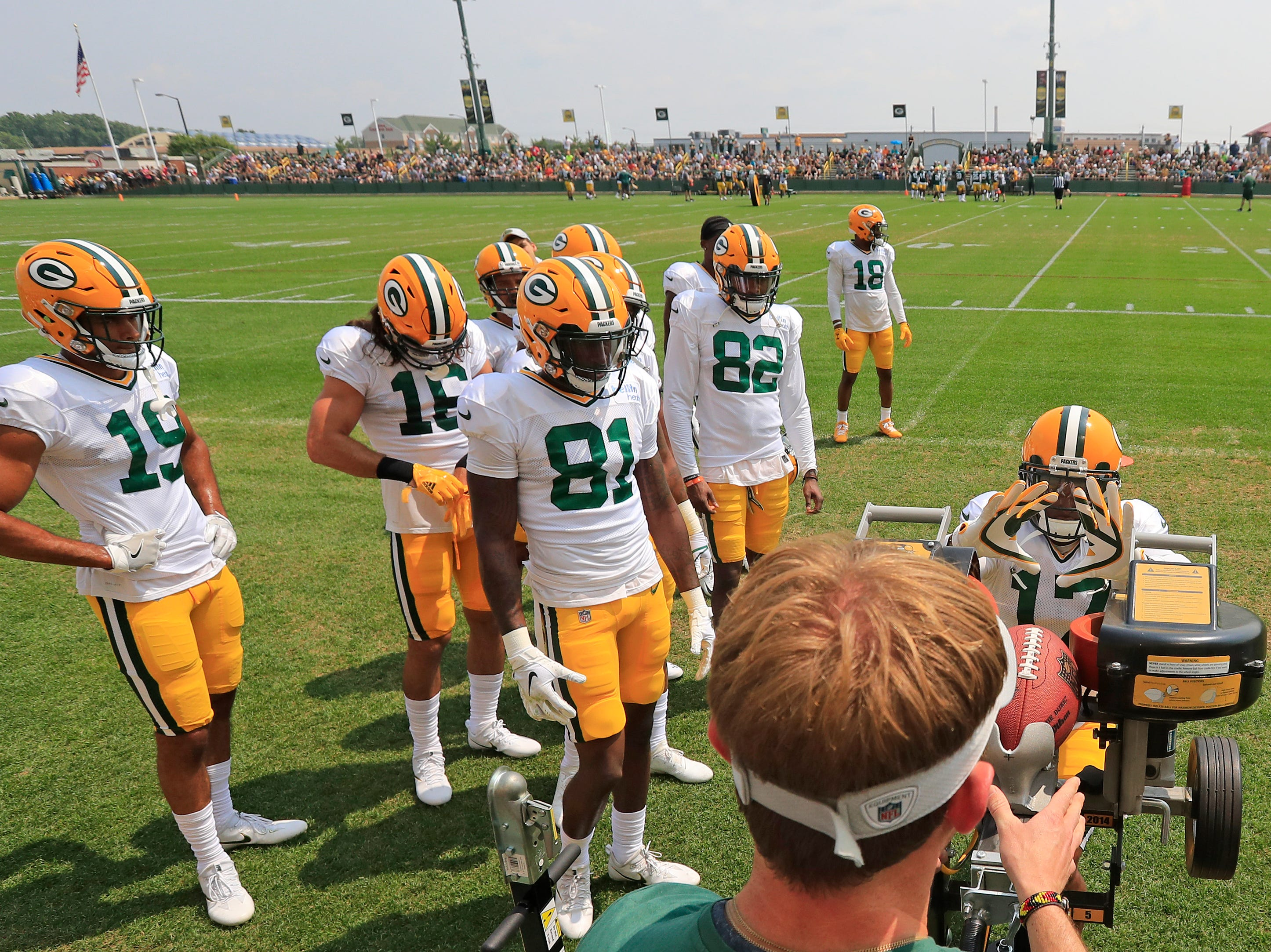 Green Bay Packers wide receiver Davante Adams (17) during training camp practice at Ray Nitschke Field on Sunday, August 12, 2018 in Ashwaubenon, Wis. 