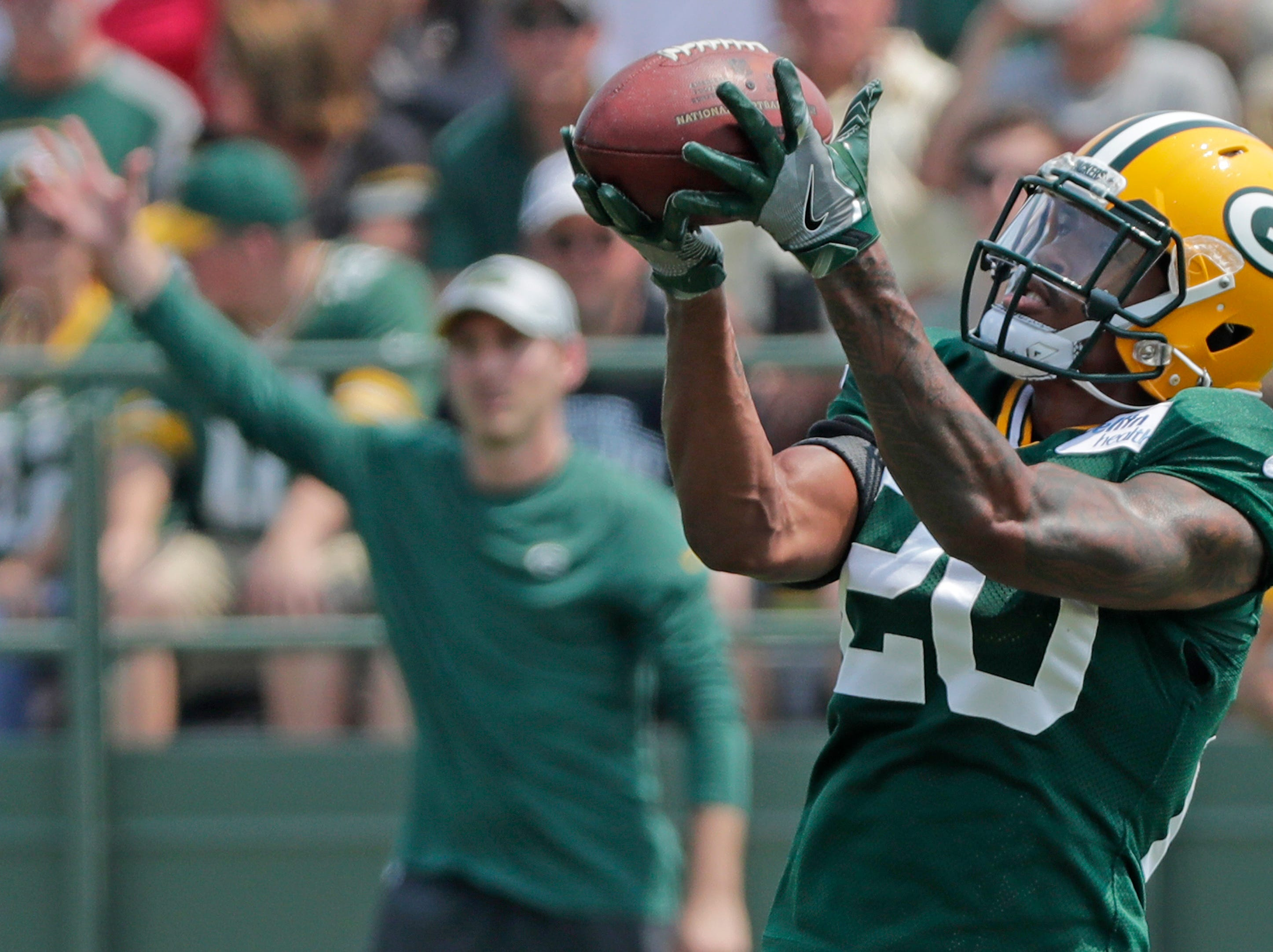Green Bay Packers cornerback Kevin King (20) during training camp practice at Ray Nitschke Field on Sunday, August 12, 2018 in Ashwaubenon, Wis. 
