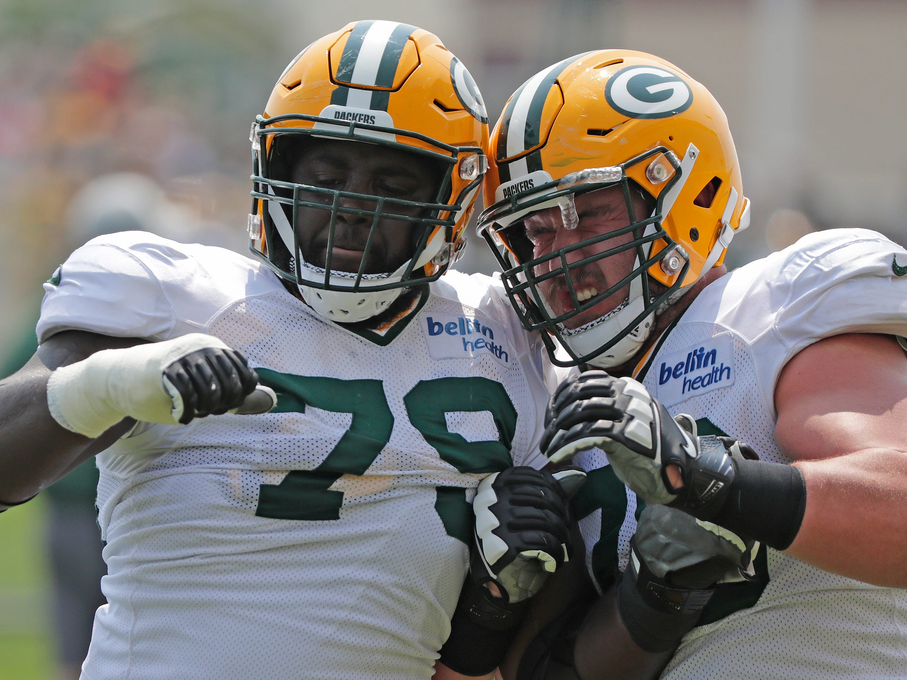 Green Bay Packers offensive guard Kofi Amichia (79) and offensive guard Alex Light (70) during training camp practice at Ray Nitschke Field on Sunday, August 12, 2018 in Ashwaubenon, Wis. 