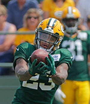 Green Bay Packers cornerback Jaire Alexander (23) during training camp practice at Ray Nitschke Field on Sunday, August 12, 2018 in Ashwaubenon, Wis. Adam Wesley/USA TODAY NETWORK-Wisconsin