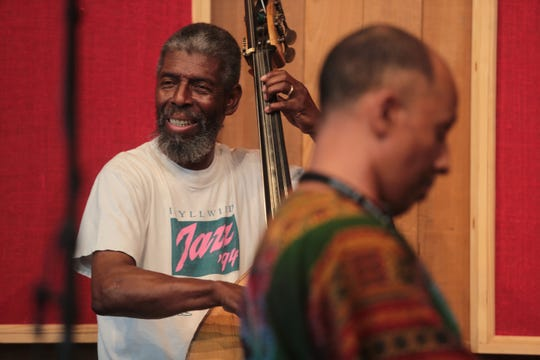 Marshall Hawkins, left, and Harry Pickens perform at the Stephens Hall during the 25th Jazz in the Pines in Idyllwild on Saturday, August 11, 2018.