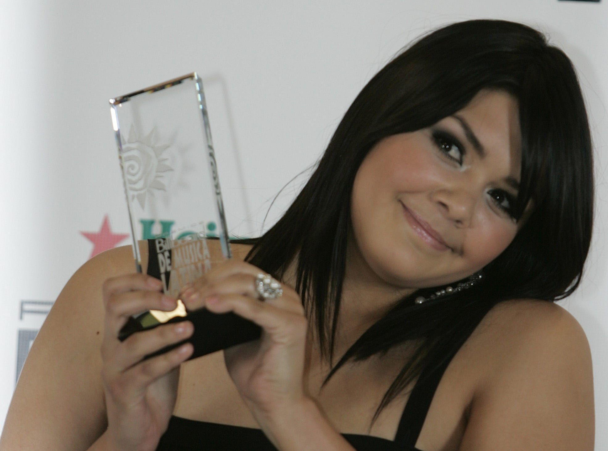 Yuridia poses with her award at the Billboard Latin Music Awards on April 26, 2007, in Coral Gables, Fla.
