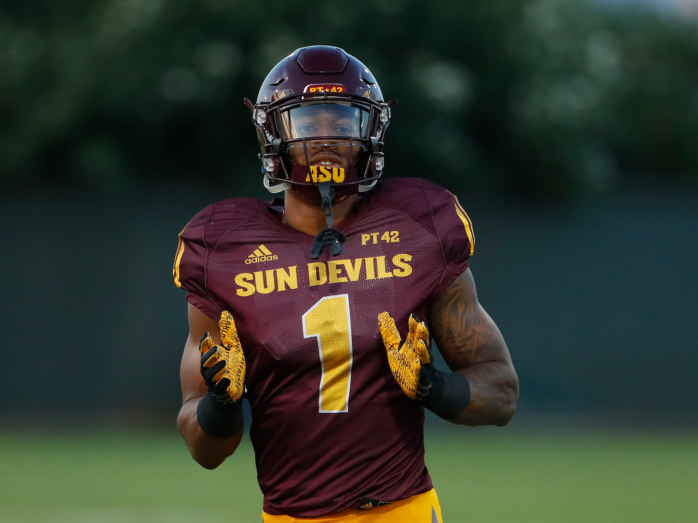 N'Keal Harry (1) calls for the ball during the ASU scrimmage at Kajikawa Practice Fields in Tempe, Ariz. on Aug. 11, 2018.
