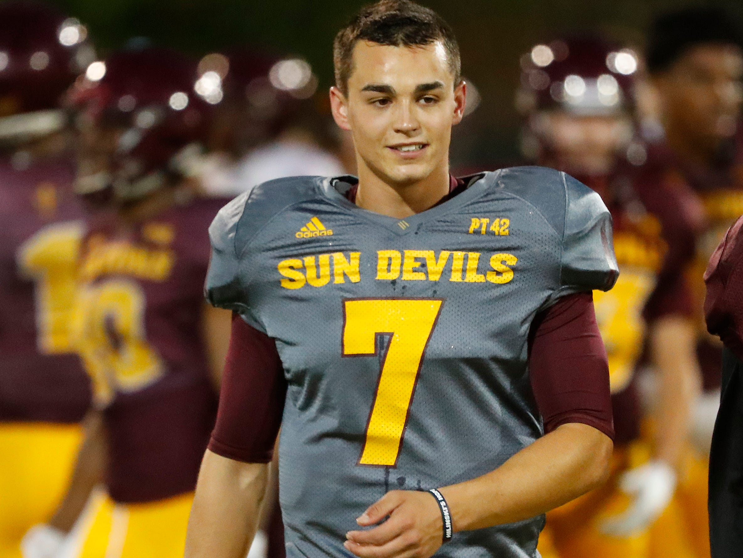 ASU's Beau Barrington (7) walks onto the field during the ASU scrimmage at Kajikawa Practice Fields in Tempe, Ariz. on Aug. 11, 2018.