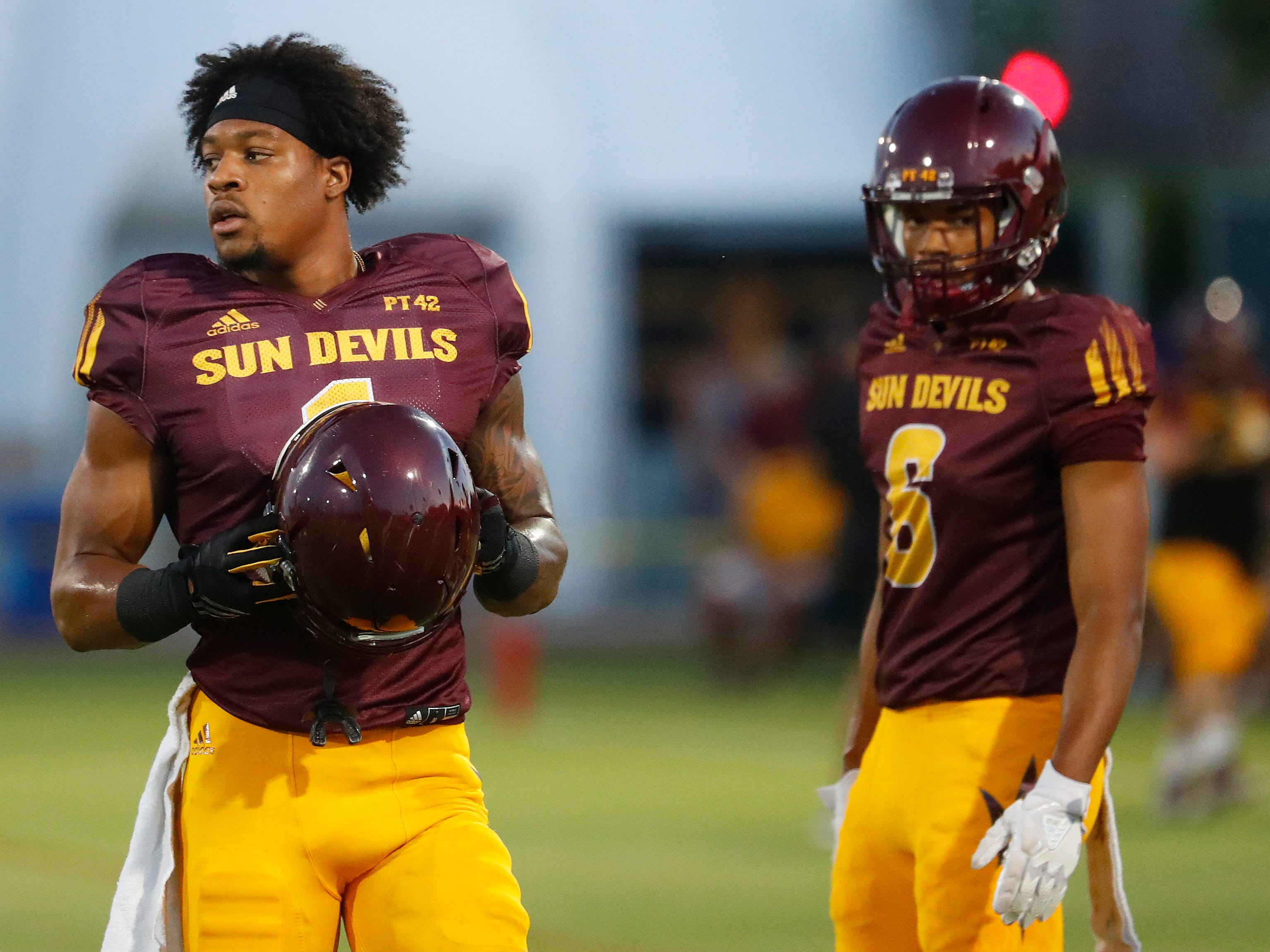 N'Keal Harry (1) prepares to run a drill during the ASU scrimmage at Kajikawa Practice Fields in Tempe, Ariz. on Aug. 11, 2018.