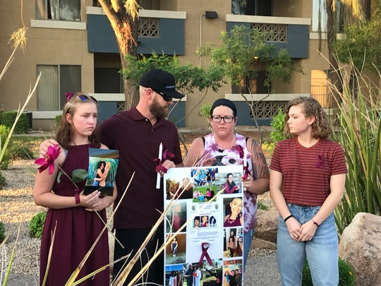 The family of missing 19-year-old Kiera Bergman held a vigil for her in Phoenix on Aug. 11, 2018.