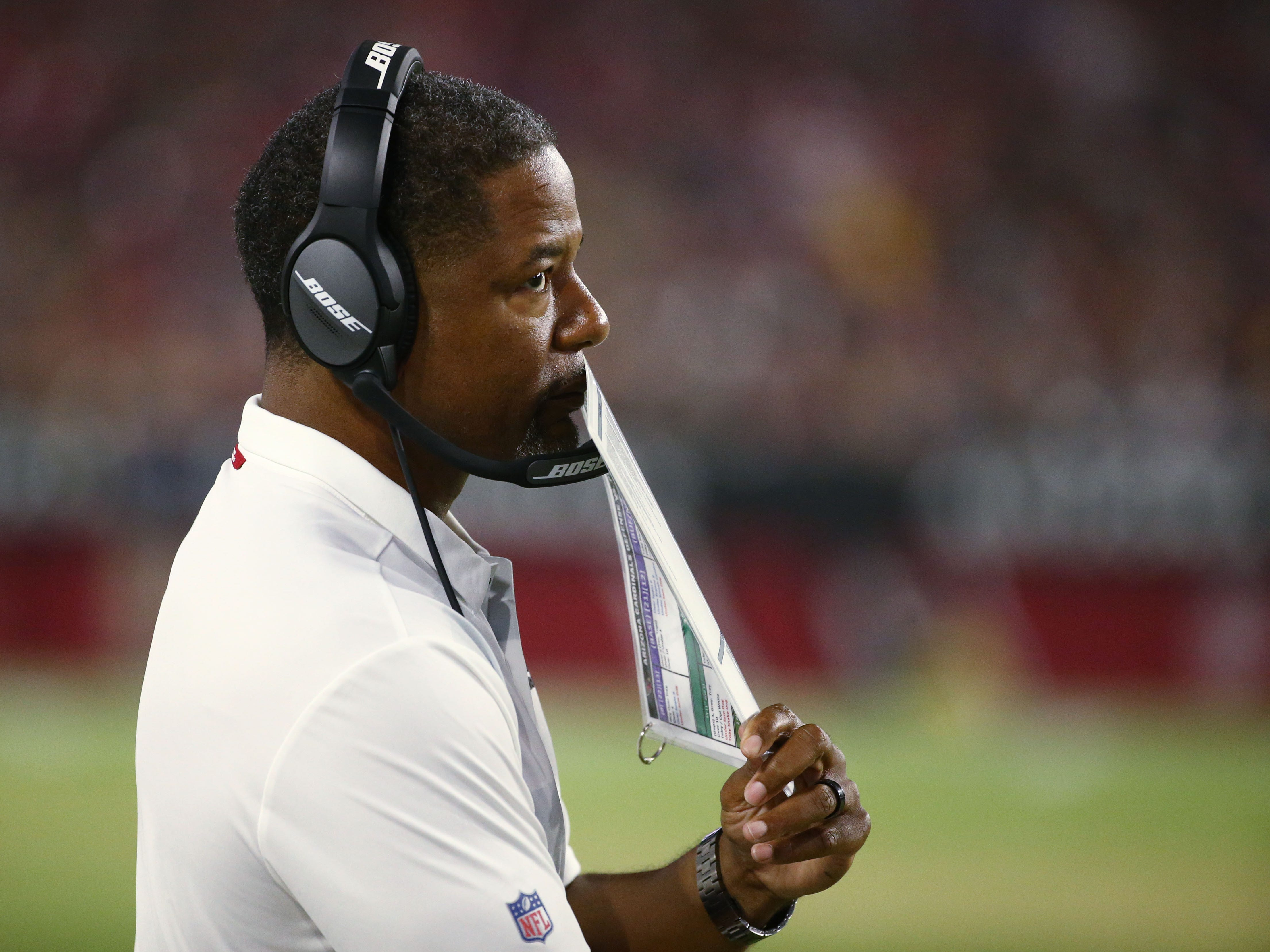 Arizona Cardinals head coach Steve Wilks against the L.A. Chargers in the first half during a preseason NFL football game on Aug. 11, 2018 at University of Phoenix Stadium in Glendale, Ariz.