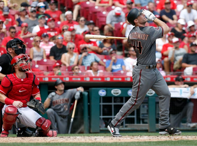 Aug 12, 2018; Cincinnati, OH, USA; Arizona Diamondbacks first baseman Paul Goldschmidt (44) hits a two-run home run against the Cincinnati Reds during the sixth inning at Great American Ball Park. Mandatory Credit: David Kohl-USA TODAY Sports