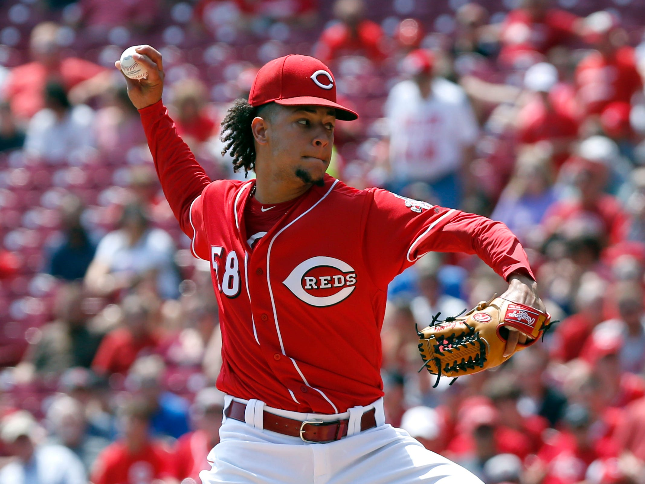 Aug 12, 2018; Cincinnati, OH, USA; Cincinnati Reds starting pitcher Luis Castillo (58) throws against the Arizona Diamondbacks during the first inning at Great American Ball Park. Mandatory Credit: David Kohl-USA TODAY Sports