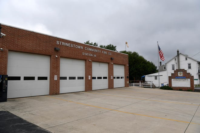 Strinestown Community Fire Company Station 26 was broken into overnight Saturday, August 11, 2018, and the perpetrator dressed in turnout gear and stole Rescue 26 for a joy ride. John A. Pavoncello photo