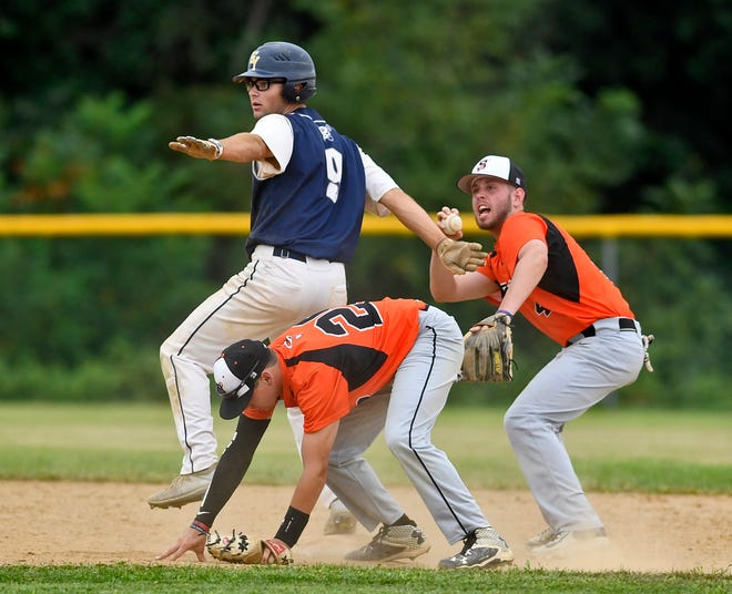 East Prospect's Bren Taylor signals safe after a play at second base by Brandon Warner and Nick Spangler of Stoverstown during the 2018 York County Championship Series. Susquehanna League champion East Prospect and Central League champion Stoverstown will square off on Memorial Day as part of the debut year of regular-season interleague play between the York County baseball leagues.