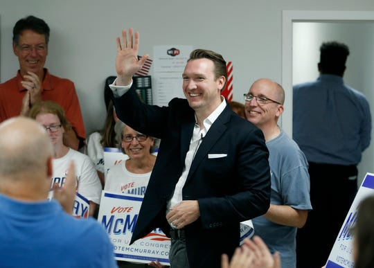 Nate McMurray, the Democrat who is running in the 27th Congressional District, arrives at a press conference to communicate his reaction to the news of Rep. Chris Collins dropping out of the race. Location was the CWA Local 1170 headquarters (The Communications Workers of America).