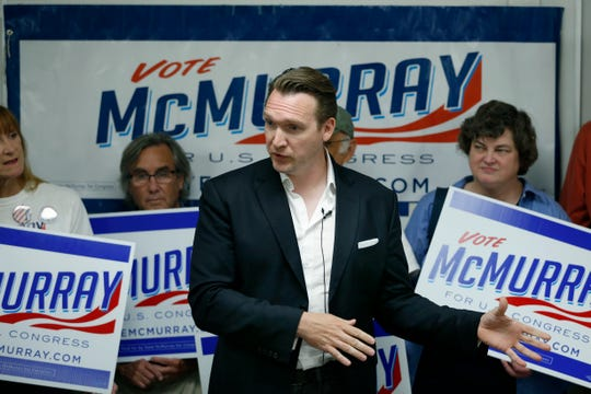Nate McMurray, the Democrat who is running in the 27th Congressional District, reacts during a press conference to the news of Rep. Chris Collins dropping out of the race. Location was the CWA Local 1170 headquarters (The Communications Workers of America).