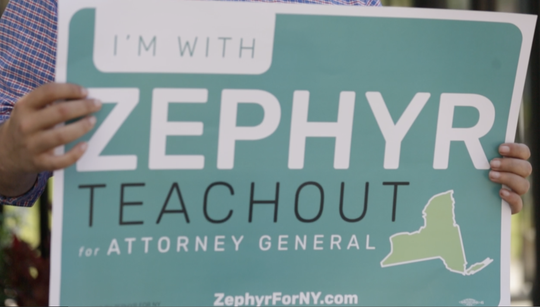 A campaign sign for for Zephyr Teachout who stopped in Rochester on Sunday, August 12, 2018.