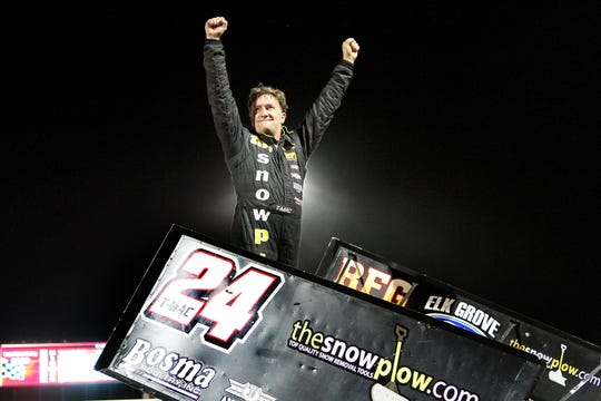 This is from the night he won his 100th feature in track history on May 29, 2016. Victory lane.