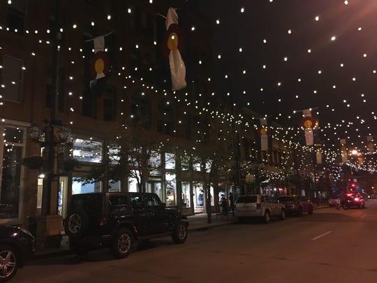 Denver's Larimer Square at night.