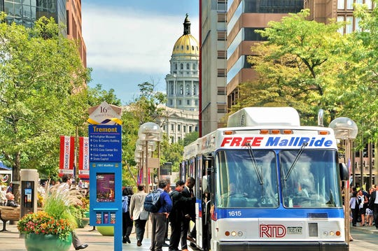 The 16th St.mall ride shuttle downtown is a free bus that takes you from Union Station to Civic Center Station. That  1-mile stretch is an outdoor mall full of shopping and dining options.