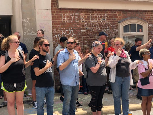 People gather to remember Heather Heyer on 4th Street in Charlottesville