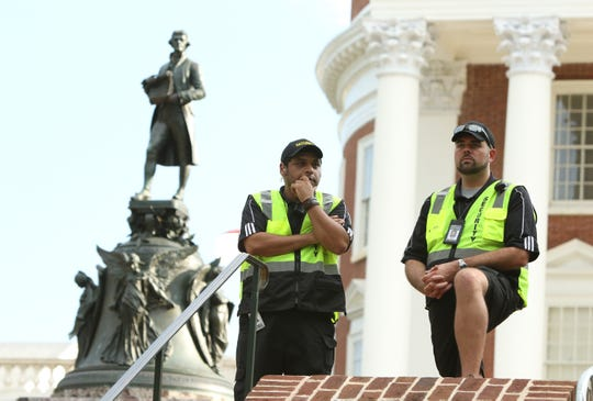 The University of Virginia increased security and fenced off areas around the Rotunda for the student led Rally for Justice in Charlottesville on Saturday, Aug. 11, 2018 on the one year anniversary of the Unite the Right rally.