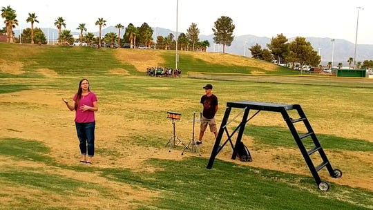 VVHS Band Director Kendra Graf explains what will take place during the marching band performance Aug. 10, 2018.