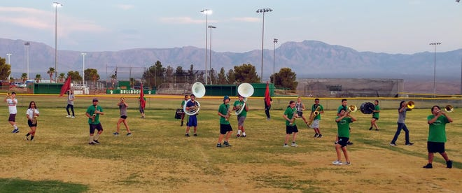 The Virgin Valley High School Marching Band performs Aug. 10, 2018.
