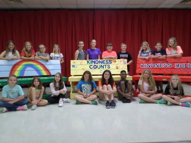 """The students at the Shadeville Student Leadership Council created three """"Kindness Benches"""" and presented them at a recent PTO meeting."""