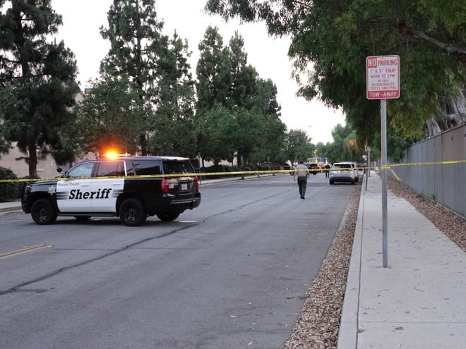 This was the scene Saturday night in Moorpark as authorities investigated the discovery of a body in a burning truck. The incident happened near Lassen Avenue and Park Lane.