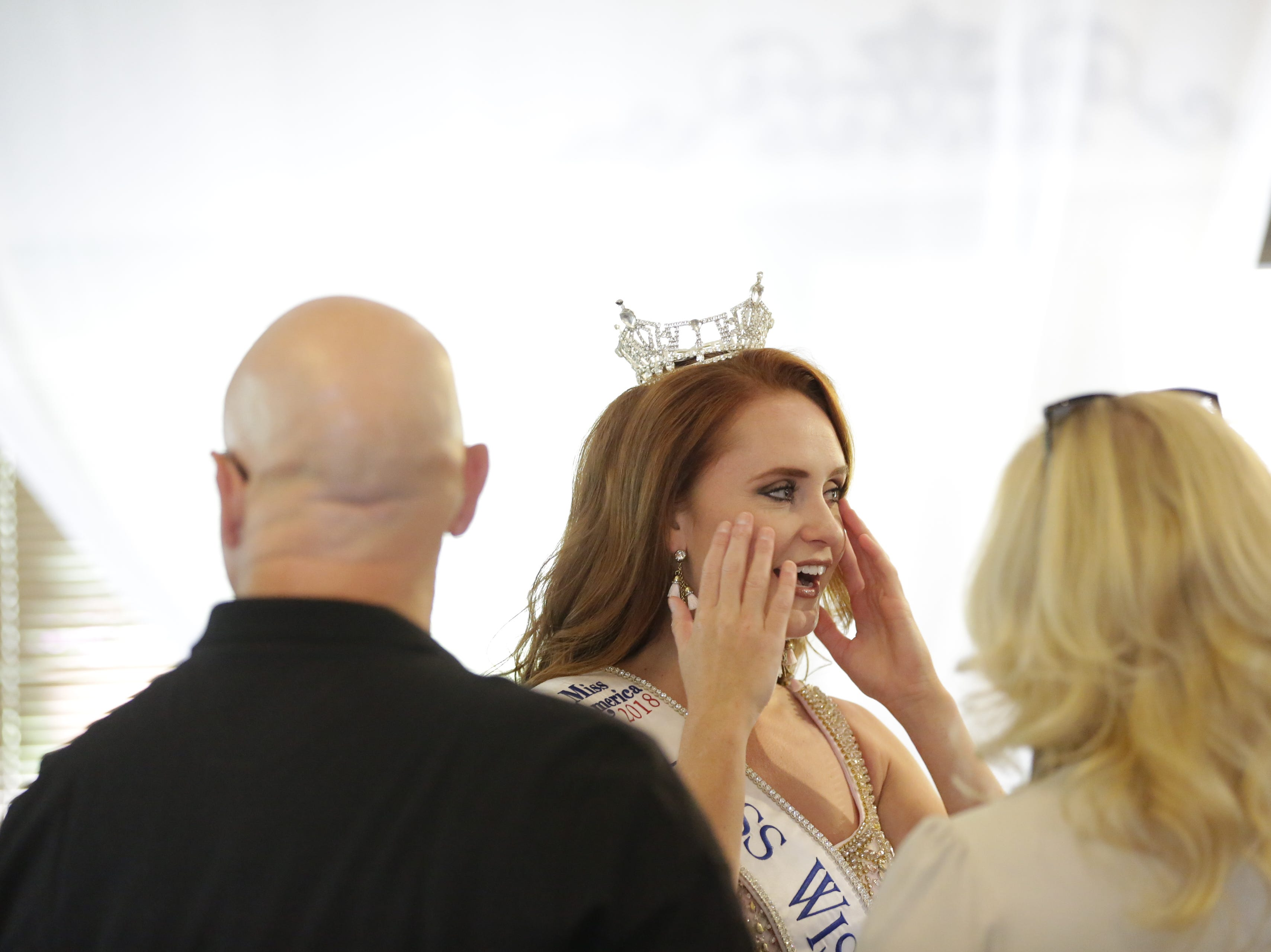 Miss Wisconsin 2018 Tianna Vanderhei talks with friends at her Miss America send off party at Ridges Golf Course and Banquet Facility in Wisconsin Rapids on Sunday, Aug. 12, 2018. Vanderhei will compete in the 2019 Miss America Competition Sunday, Sept. 9, 2018 in Atlantic City, New Jersey.