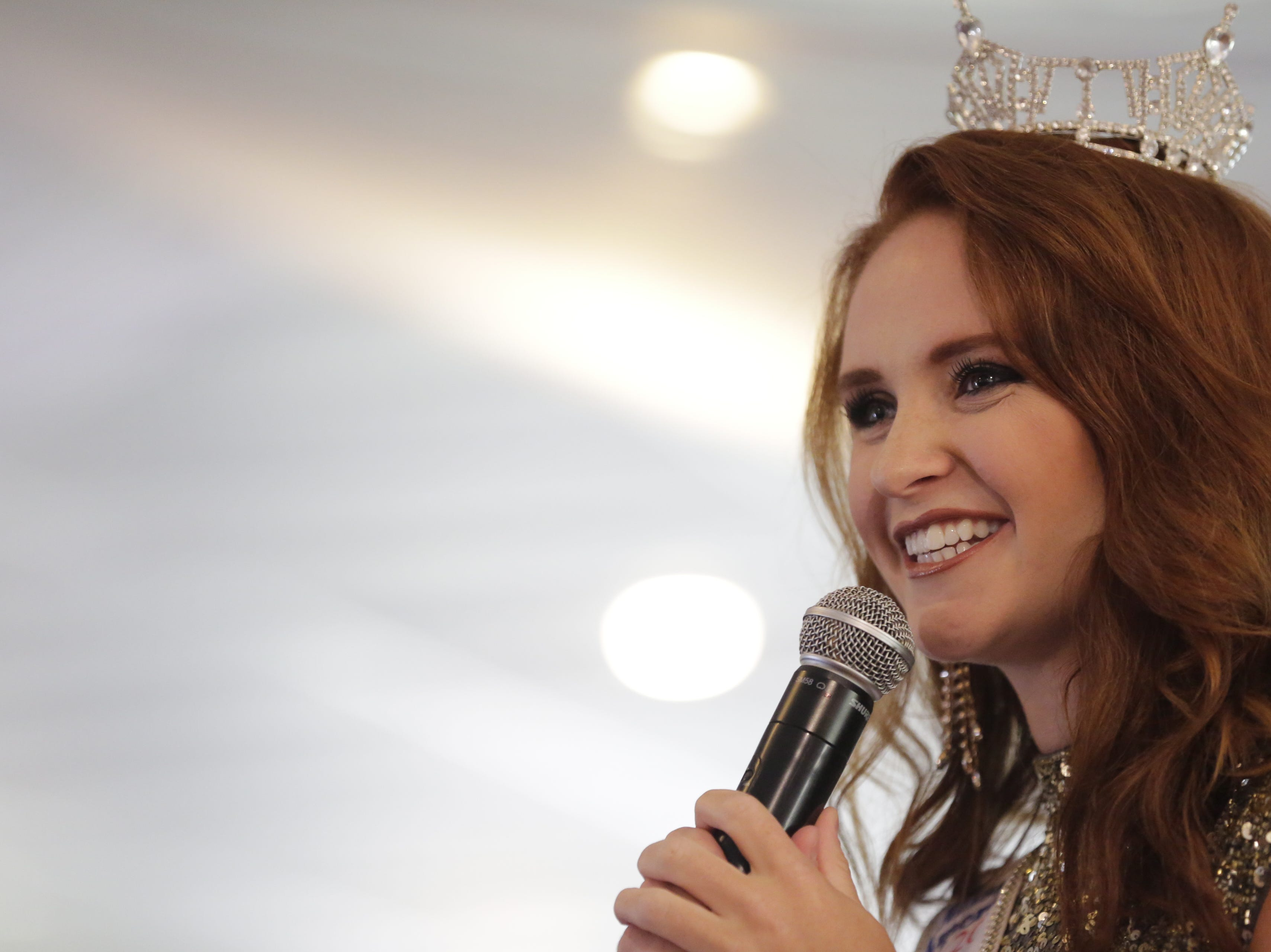 Miss Wisconsin 2018 Tianna Vanderhei gives a speech during her send off party for the 2019 Miss America Competition at Ridges Golf Course and Banquet Facility in Wisconsin Rapids on Sunday, Aug. 12, 2018. Vanderhei will compete in the 2019 Miss America Competition Sunday, Sept. 9, 2018 in Atlantic City, New Jersey.