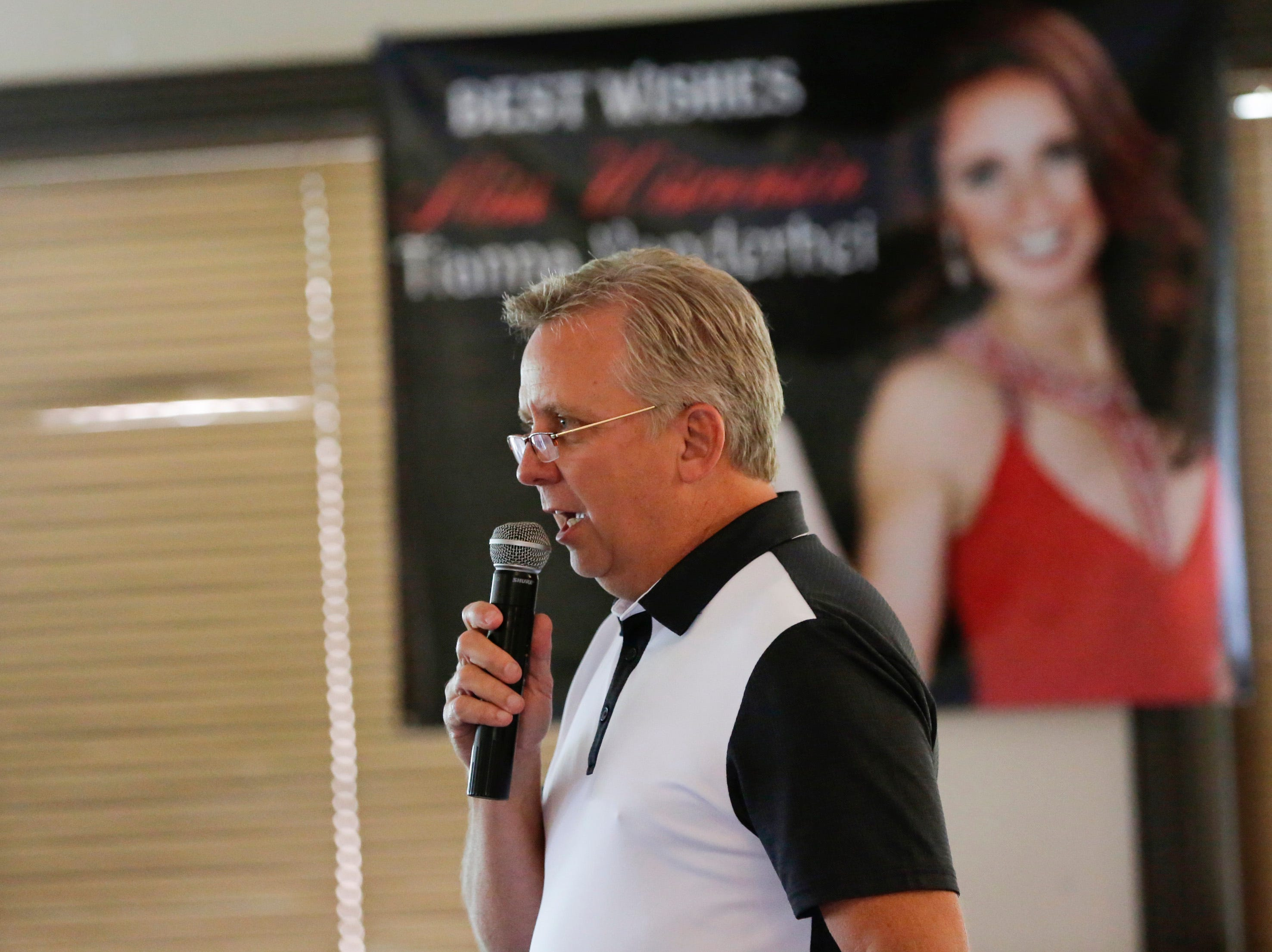 Gary Vanderhei, father of Miss Wisconsin 2018 Tianna Vanderhei, makes a speech at the Miss America send off party for Tianna Vanderhei at Ridges Golf Course and Banquet Facility in Wisconsin Rapids on Sunday, Aug. 12, 2018. Vanderhei will compete in the 2019 Miss America Competition Sunday, Sept. 9, 2018 in Atlantic City, New Jersey.
