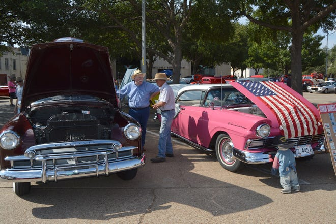 These Chevrolet and Ford entries were a favorite in the annual Waggoner National Bank car show held Friday morning on the bank's parking lot. The car show was one of many activities associated with Vernon's  29th annual Summer's Last Blast.