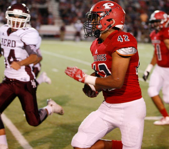Andrew Villa (42) and the Plainview Bulldogs are part of the new District 4-5A Division I Rider and WFHS will have to contend with for the next two seasons. (Mark Rogers/AJ Media)