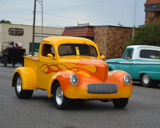 Several entries in the four mile long cruise held in Vernon Saturday evening sported bright colors, some with flames.