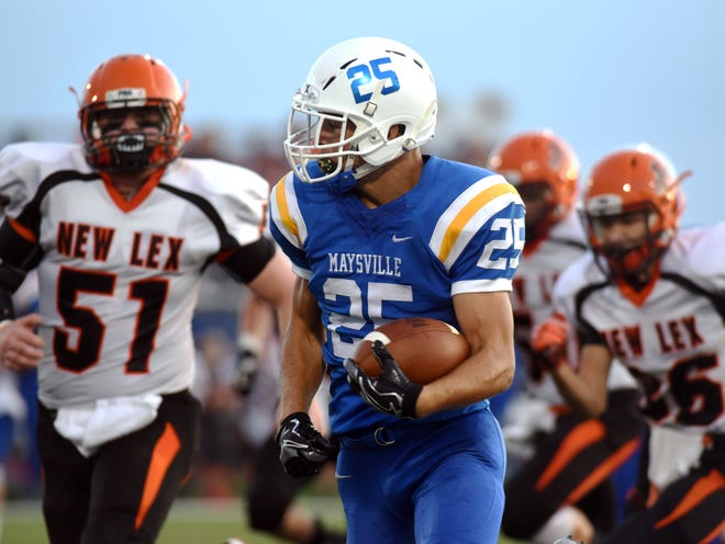 Maysville's Hayden McGee runs through traffic against New Lexington last season. McGee is one of several seniors hoping to return Maysville to the postseason.