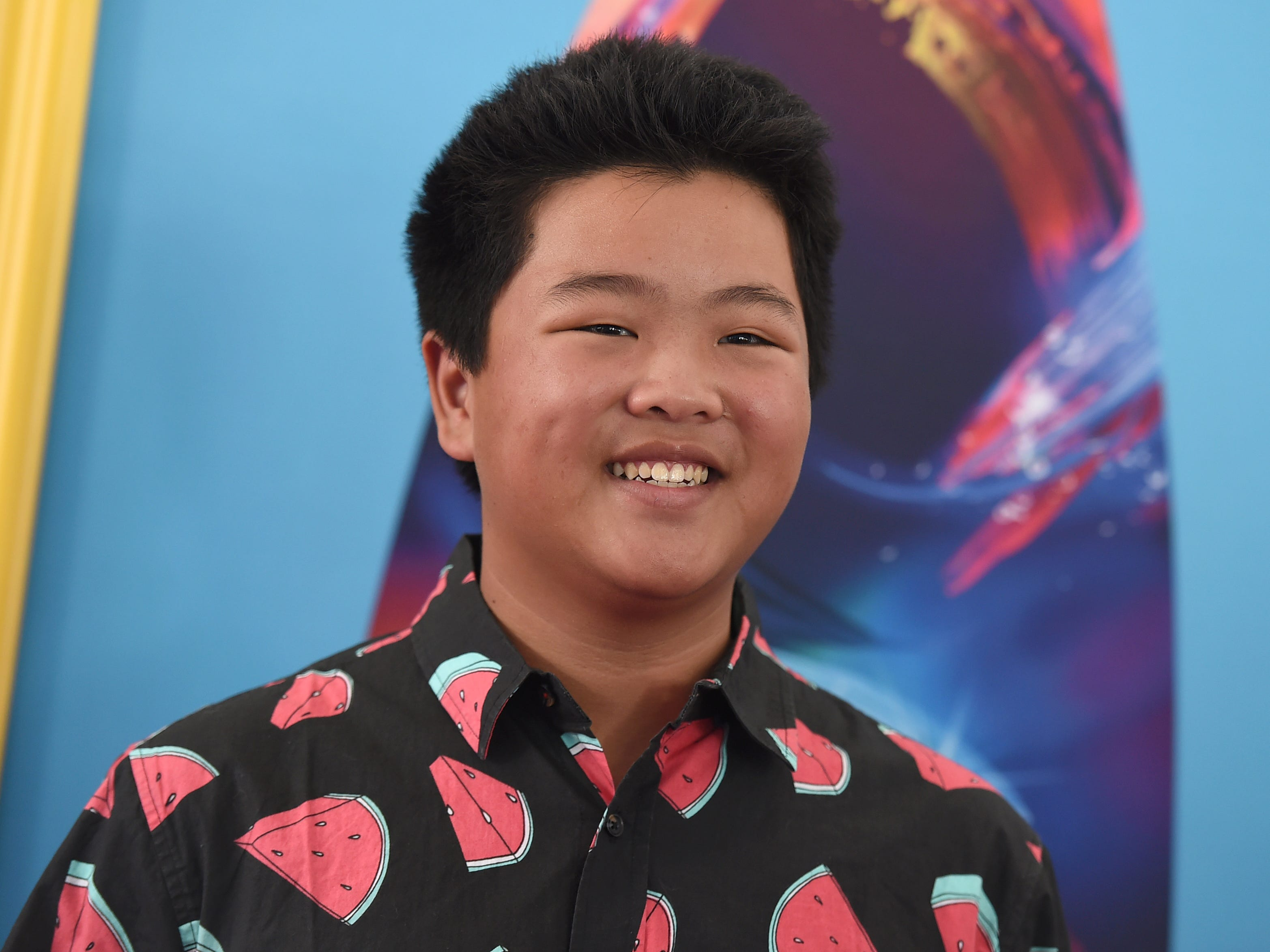 Hudson Yang arrives at the Teen Choice Awards at The Forum on Sunday, Aug. 12, 2018, in Inglewood, Calif. (Photo by Jordan Strauss/Invision/AP) ORG XMIT: CAPM124