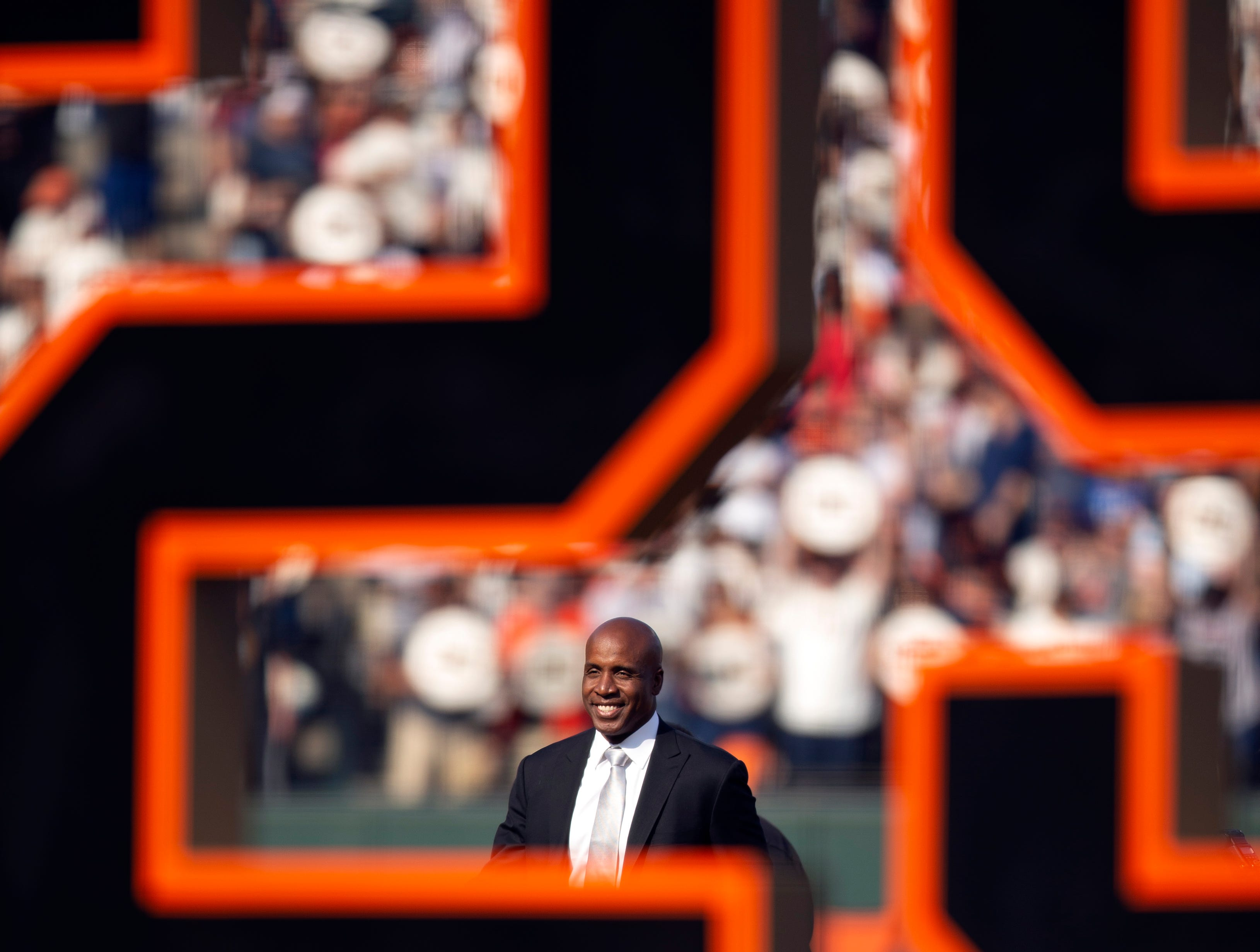 Barry Bonds during a ceremony held by the San Francisco Giants to retire his No. 25.