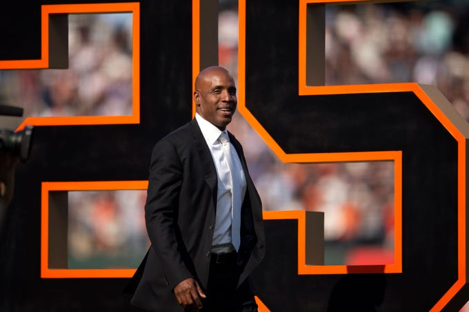 Barry Bonds during a ceremony held by the San Francisco Giants to retire his No. 25