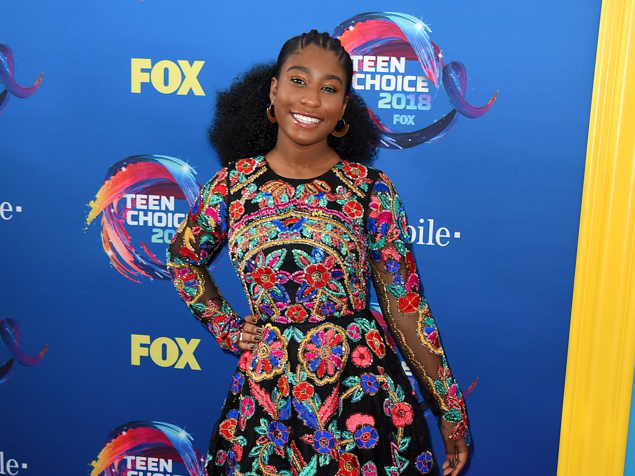 Lyric Ross arrives at the Teen Choice Awards at The Forum on Sunday, Aug. 12, 2018, in Inglewood, Calif. (Photo by Jordan Strauss/Invision/AP) ORG XMIT: CAPM123