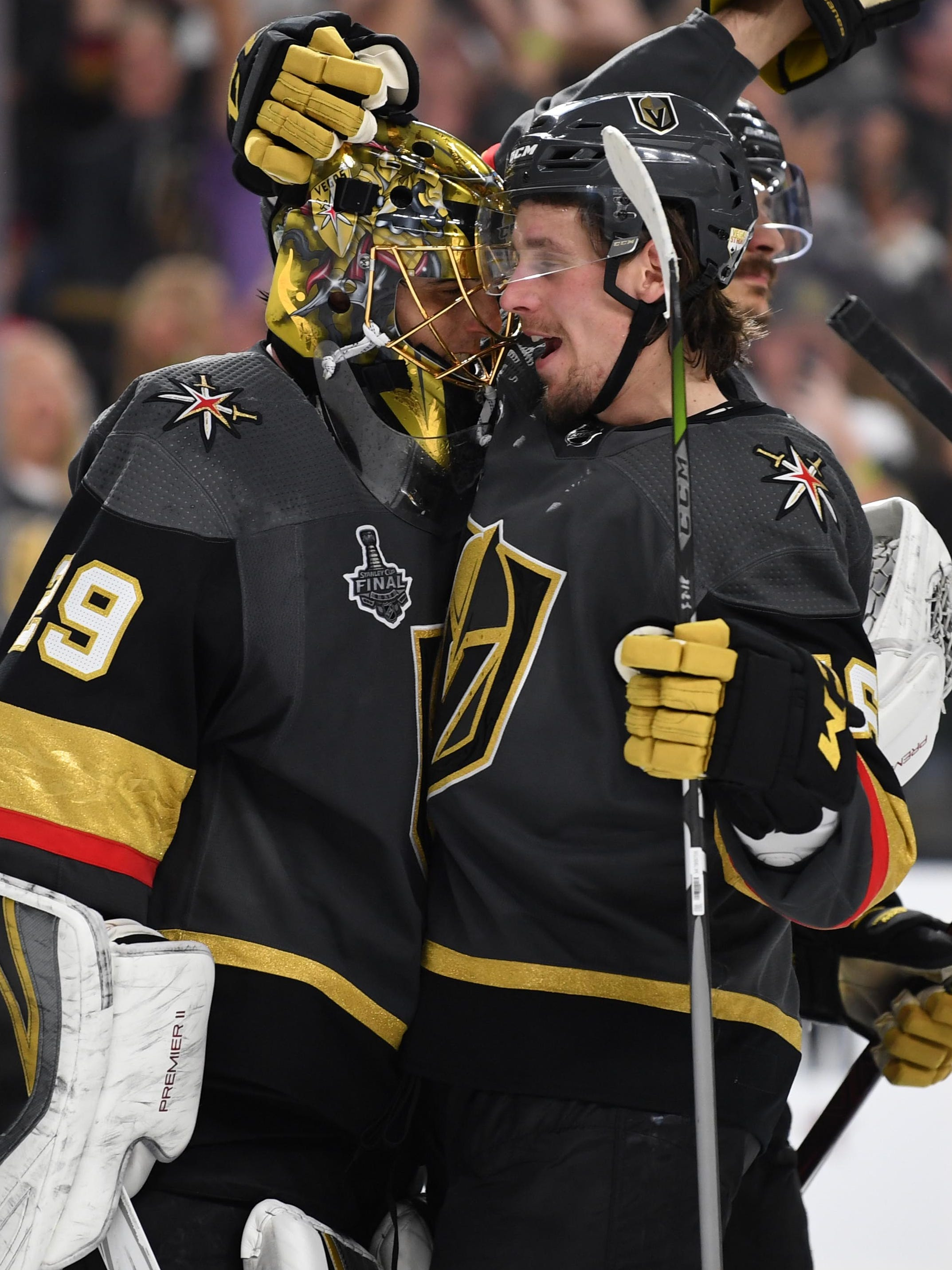 May 28, 2018; Las Vegas, NV, USA; Vegas Golden Knights goaltender Marc-Andre Fleury (29) celebrates with left wing Erik Haula (56) and left wing David Perron (57) after defeating the Washington Capitals in game one of the 2018 Stanley Cup Final at T-Mobile Arena. Mandatory Credit: Stephen R. Sylvanie-USA TODAY Sports ORG XMIT: USATSI-381963 ORIG FILE ID:  20180528_jel_cs1_226.jpg