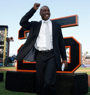 Barry Bonds was all smiles as the Giants retired his No. 25.