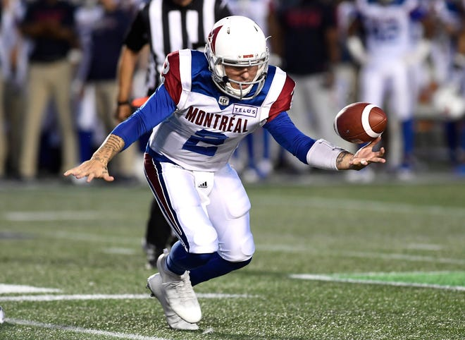 Montreal Alouettes quarterback Johnny Manziel (2) loses control of the ball during the half of a Canadian Football League game against the Ottawa Redblacks.
