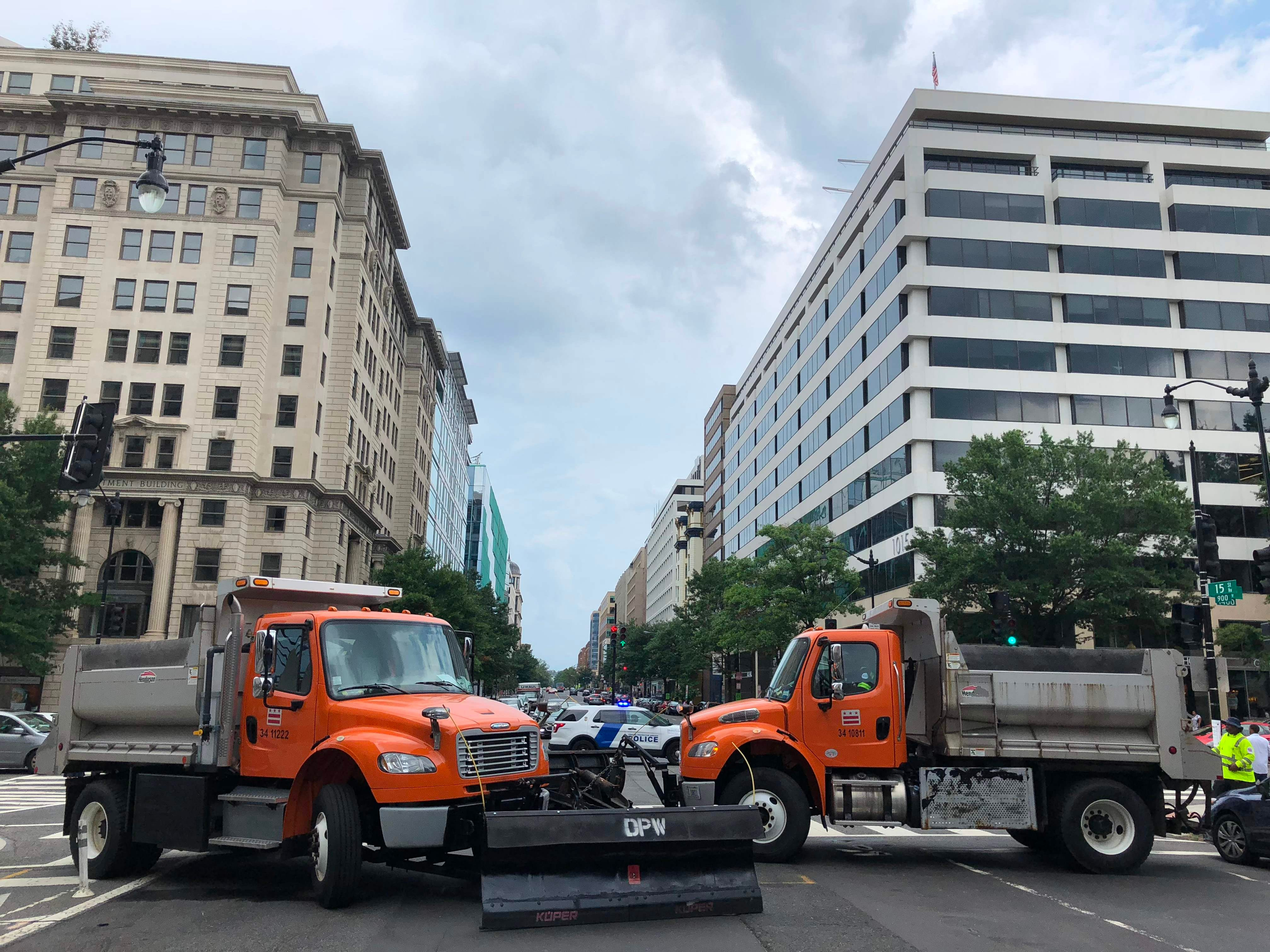 Heavy trucks barricade the streets near the White House as far-right activists gather for the Unite the Right rally Aug. 12, 2018 in Washington, DC on the one-year anniversary of the deadly violence at a similar protest in Charlottesville, Va.