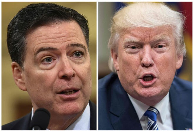 President Donald Trump, right, and former FBI Director James Comey.