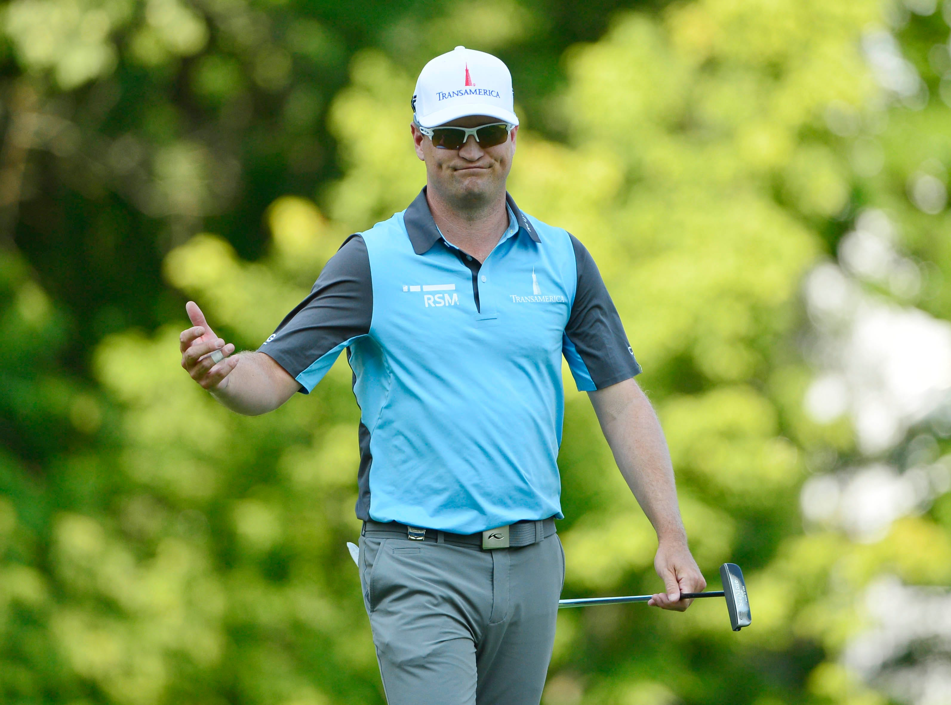 Zach Johnson reacts to missing a putt on the 16th green during the third round of the PGA Championship.