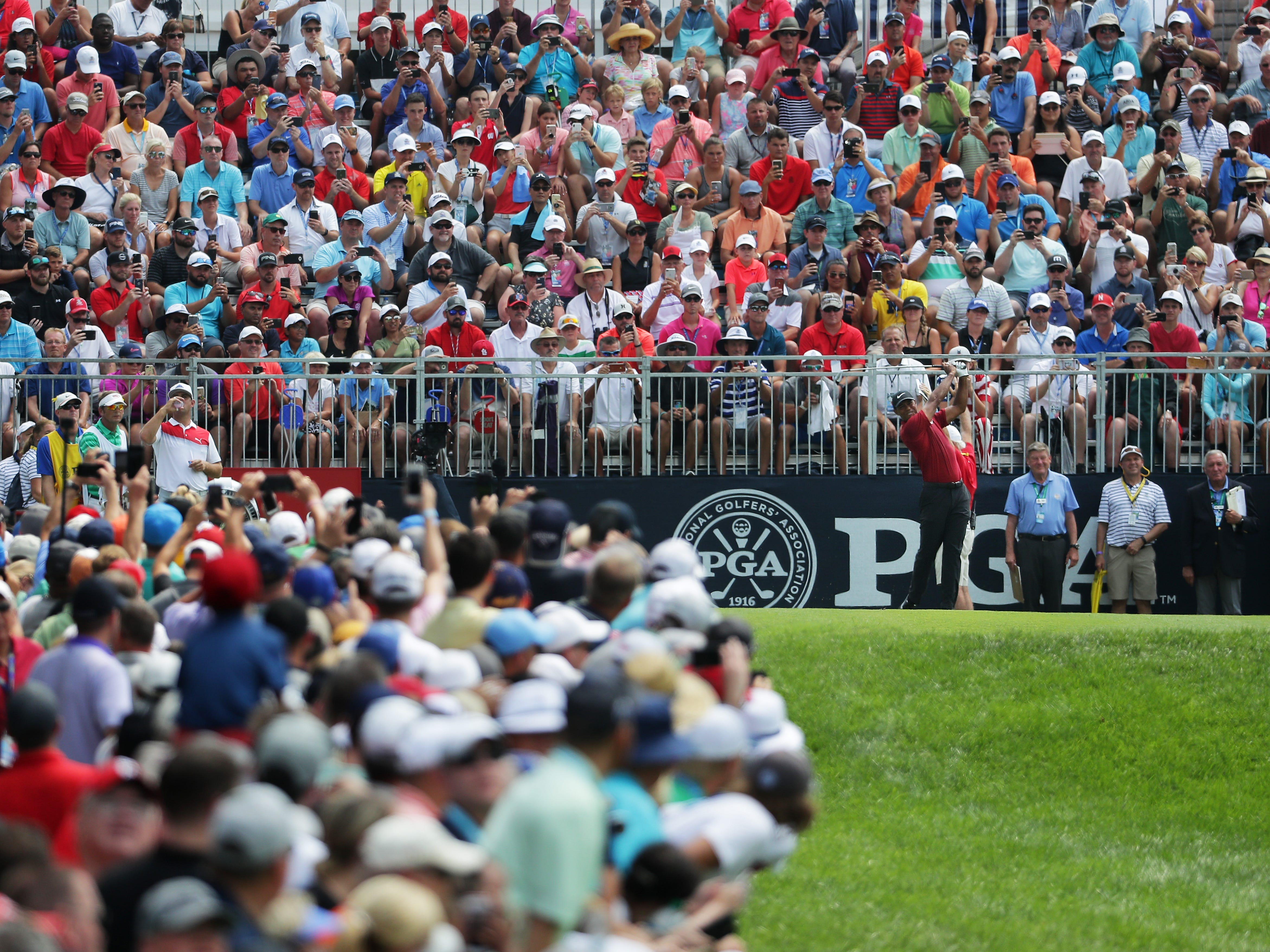 Tiger Woods on the first tee during the final round of the 2018 PGA Championship at Bellerive Country Club on Aug. 12.