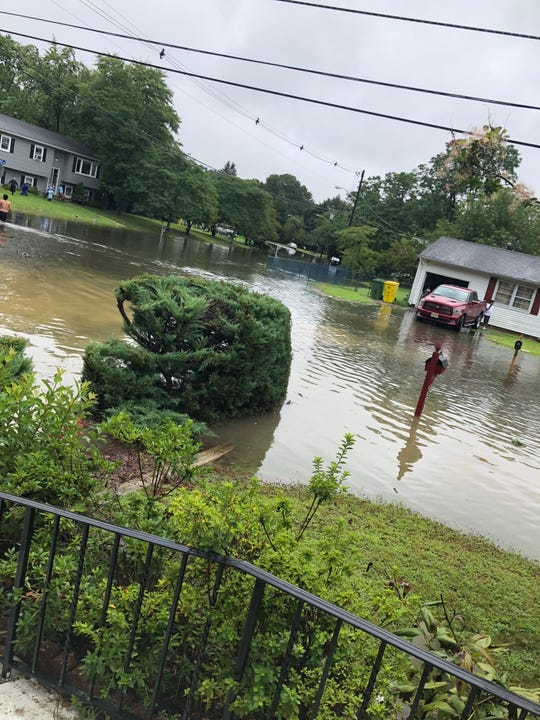 Heavy rain on Monday, Aug. 13, 2018 has flooded Brookfield Drive in Lakewood, N.J.